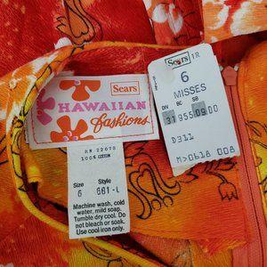 Vintage Dresses - VINTAGE Hawaiian Floral A-Line Maxi Tiki Dress